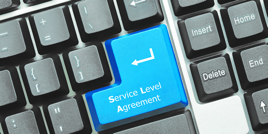 Close-up view on conceptual keyboard - Service Level Agreement (blue key)
